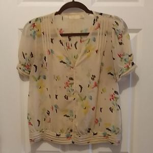 Colorful sheer blouse, Anthropologie